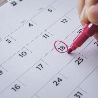 Markiertes Datum auf einem Terminkalender